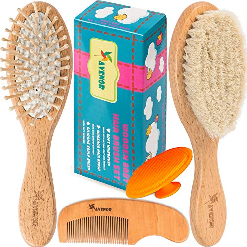 Baby Hair Brush Comb Set - Natural Wooden Hairbrush with Soft Goat Bristles for Cradle Cap - Scalp Grooming Massage for Newborns, Toddlers, Kids - Baby Shower and Registry Gift