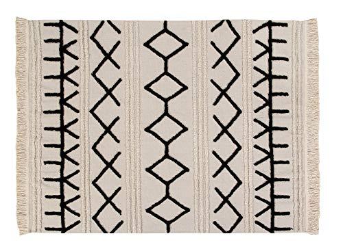 Lorena Canals Alfombra Lavable Bereber Canvas Algodón Natural - Beige , Negro - 200x140 cm