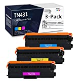 3-Pack (1C+1Y+1M) TN-431C TN-431M TN-431Y Compatible Toner Cartridge Replacement for Brother DCP-L8410CDW MFC-L8610CDW MFC-L8900CDW MFC-L9570CDWT HL-L8360CDW HL-L9310CDW HL-L9310CDWT Printer.