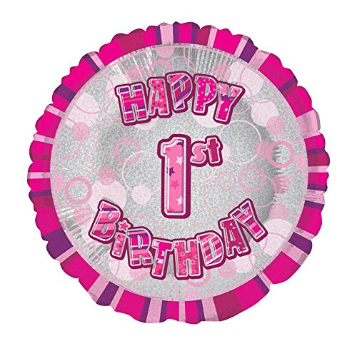 45,7 cm folie Glitz Happy Birthday helium ballon 1 jaar. roze