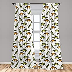 3. Lunarable Dinosaur 2 Panel Jurassic Dinosaurs Curtain Set