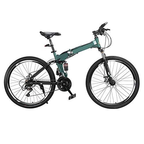 ndegdgswg Bicicleta de montaña plegable, portátil, velocidad variable, doble absorción de golpes, para adultos y estudiantes, 26 pulgadas, 24 velocidades, verde