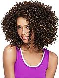 Pelucas cortas rizadas afro Kinky rizadas para mujer negra resistente al calor sintético pelo completo marrón claro pelucas