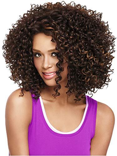 Parrucca da donna di capelli ricci afro sintetici, taglio corto, resistente al calore, colore: castano chiaro