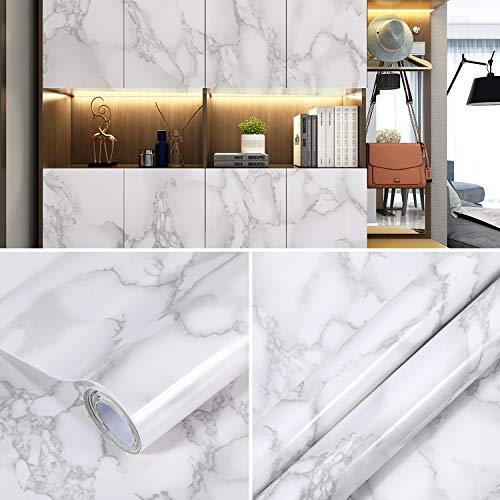 Ohuhu Selbstklebend Folie Mamorfolie Fensterbank Folie Klebefolie Marmor Weiß Wasserdicht 45X300cm für Schminktisch Deko Möbel Küche Küchenschrank