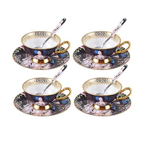 Latte Art Cup European Court Ceramic Coffee Cup Tea Cup Dish Spoon Set of 4, Single Cup 160ml (5oz) Porcelain Vintage Red Tea Cup Dish Spoon Creative English Afternoon Tea Set Coffeezone