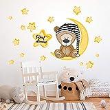 R00101 Adhesivos de pared Oso Estrellas Luna Decoración Dormitorio infantil Niño