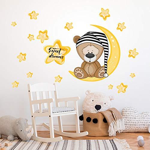 R00101 Pegatina Vinilo Pared Suave Efecto Tejido Decoración Niño Bebé Habitación Infantil Guardería Papel Pintado Autoadhesivo Osito Luna Estrellas