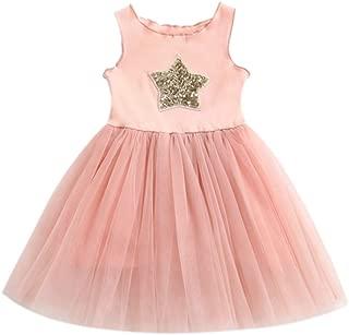 KLFGJ Toddler Baby Girl Dresses, Sleeveless Star Sequins Clothes Princess Tutu Dress for Kids who 6M-4Yrs