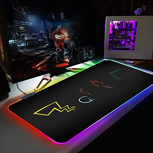 Mouse Pads Anime Cute Elf RGB Gaming Mouse Pad with 14 RGB Light up Modes,LED Gaming Pad,Non-Slip Rubber Based Computer Mice mat 11.81'x27.56'
