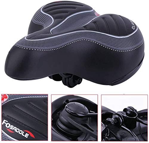 Brccee AC Comfort Bike Seat - Wide Big Bum Bicycle Gel Cruiser Extra Comfort Sporty Soft Pad Saddle Seat,Most Comfortable Replacement Bicycle Saddle Fit for Exercise Bike Outdoor Bike for Men/Women