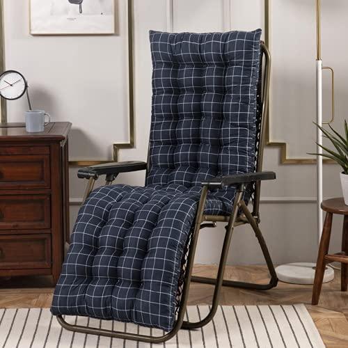 Cojines de silla de salón, cojín de tumbona, cojín de asiento de muebles de patio, cojín antideslizante de respaldo alto, cojín de gravedad cero grueso para tumbonas al aire libre (azul), 48 x 170 cm