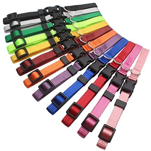 HOLLIHI 12 Stück Welpenhalsbänder aus weichem Nylon, Erkennungs-Halsbänder, verstellbar mit Sicherheitsverschluss, zur Identifikation von Welpen bei einem Wurf, für Züchter mit Aufzeichnungstabellen