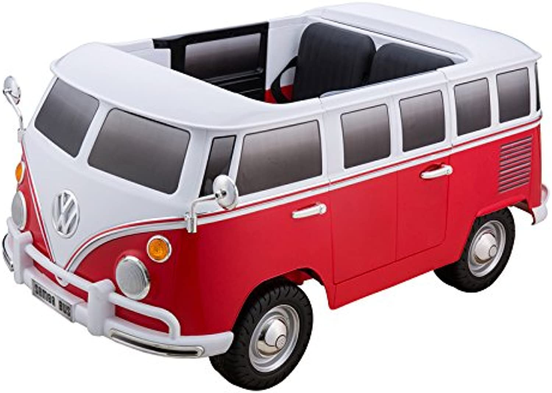 ES-TOYS Kinderfahrzeug - Elektro Auto VW Bulli - lizenziert - 12V7AH Akku und 2 Motoren- 2,4Ghz + MP3 + Ledersitz + 2 Sitzer (Rot)