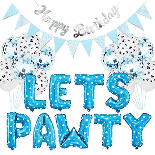 Petyoung Deja PAWTY 23pcs Kit de decoración del Partido del Perro del Animal doméstico, Globos cumpleaños Banners Fuentes del Partido para Perro Gato (Color : Azul)