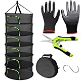 Herb Drying Rack, 6-layer Black hanging drying rack with U-shaped Green zipper, with garden scissors, plant drying rack net for drying plants, herbs