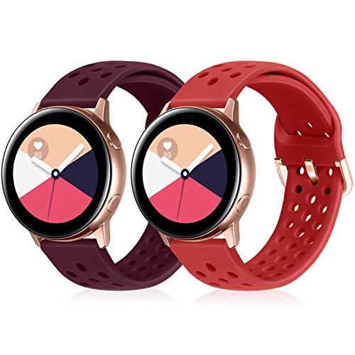 Runostrich Correa de repuesto de silicona de cambio rápido, 22mm, compatible con Galaxy 46mm, Gear S3 Frontier/Classic, Fossil Gen 5, Gen 4 para hombre y mujer (22mm), color rojo oscuro y rojo