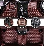Muchkey Auto Tapetes de Piso para Audi A8 1998-2003 Alfombrillas Impermeable Antideslizante de Cuero Interior alfombras Café