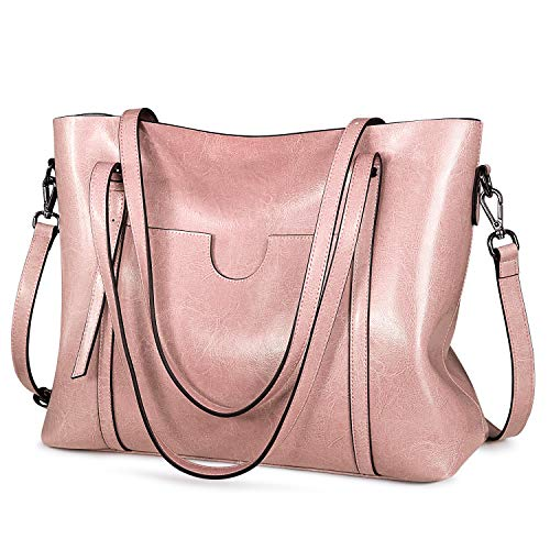 S-ZONE Women Genuine Leather Top Handle Satchel Daily Work Tote Shoulder Bag Large Capacity (Pink)