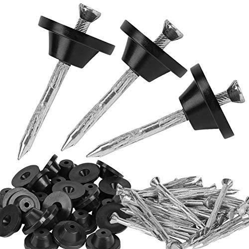 50 Stück - Montageknöpfe mit Nagel 40mm für Noppenbahn + Dichtscheiben - Loch 4,5mm