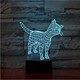 Lámpara de ilusión óptica Luces de gato Lámpara 3D LED Lámpara de Gato Lindo Juguete de animal como decoración para el hogar Luces Siete colores Cambiar Interruptor táctil