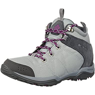Columbia Women's Fire Venture Mid Textile Hiking Boot, Earl Grey, Dark Raspberry, 9.5 Regular US