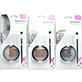 3 Colors of Kleancolor Eyebrows Essential Kit ' 9 Eyebrow Stencils 3 Powder 3 Brush Kit '