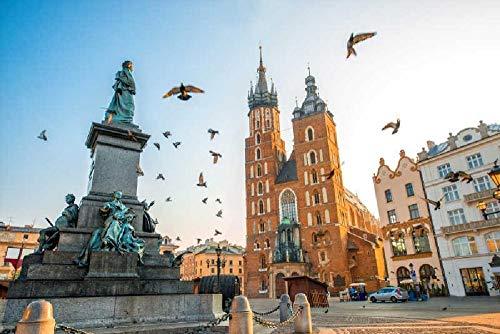 Puzzles para Adultos Rompecabezas de 1000 Piezas, Educativo Intelectual Descomprimiendo Juguete Divertido Juego Familiar Plaza central de Cracovia, Polonia