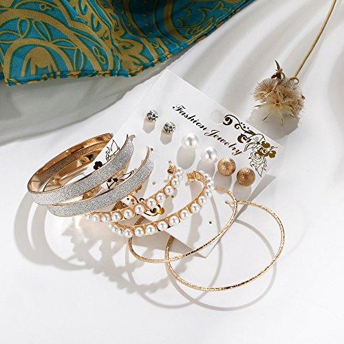 Juego de 6 pares de pendientes de perla crubante grande, con círculos, personalizables