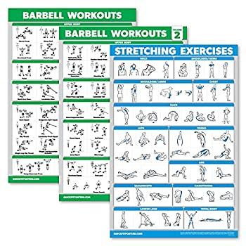Palace Learning 3 Pack - Barbell Workout Posters Volume 1 & 2 + Stretching Exercise Chart - Set of 3 Posters  Laminated 18  x 24