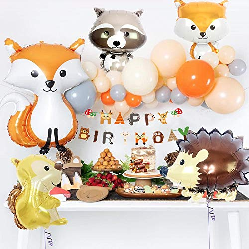 JeVenis Set von 33 Woodland Party Supplies Waldtiere Luftballons Waldtier Freunde unter dem Motto Luftballons