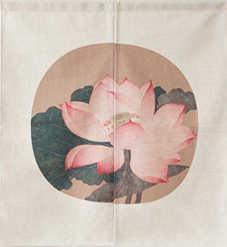 LIGICKY Cortina de estilo japonés Noren para puerta de entrada, de algodón, lino, para decoración del hogar, 85 x 90 cm, diseño vintage de flor de loto