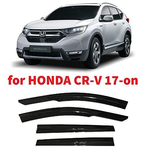 Optimal Co Tape-On 3D Wavy JDM CRV Style Side Window Vent Visor Deflectors Rain Guards Compatible with Honda CR-V 2017 2018 2019 2020 2021 LX EX EX-L Touring