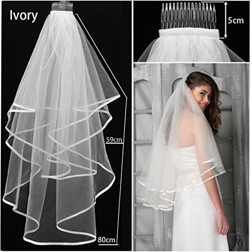 Velo para novias, de la marca JJOnlinestore, con peineta, disponible en 2 colores, color marfil