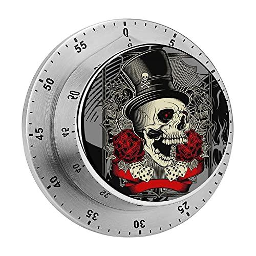 Temporizador de cocina, Cráneo de uso de sombrero y dados de rosa decoración de chasis magnético alarma de acero inoxidable, utilizado para la cocina, hornear, fitness ejercicio temporizador