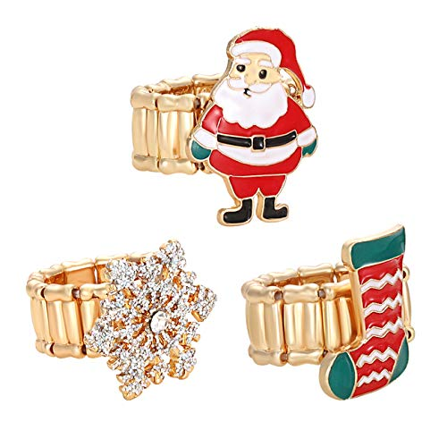 ANGLESJELL Christmas Rings Set for Women (Snowflake+Santa+Sock, 6.5)