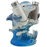 Dolphin Riding Ocean Wave Salt and Pepper Shaker Set with Figurine Holder in Decorative Tropical Kitchen Decor Spice Racks & Porpoise Display Stands or Beach Bar and Restaurant Table Centerpieces As Gifts for Dolphin Lovers