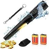 POVO Detectores de Metales Pinpointer IP68 Impermeable 5-10 Metros Bajo el Agua con 2 Pilas Naranja Portátil Herramientas para Buscar Oro Plata Monedas para Junior Niño Adultos (Negro)