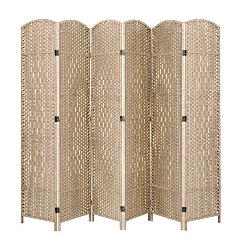 ORAF Room Divider 6 ft. Tall 19.69″ Wide Folding Privacy Screens 6 Panel, Hand Weave Fiber Standing Room Dividers and Separator, Temporary Partition Wall Divider for Room and Office (Khaki)