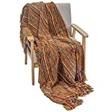 """DECOMALL Decorative Throw Blanket with Fringe Soft Striped Multi Color Throws for Couch Sofa Armchair Bed 50""""x 60"""", Multi"""
