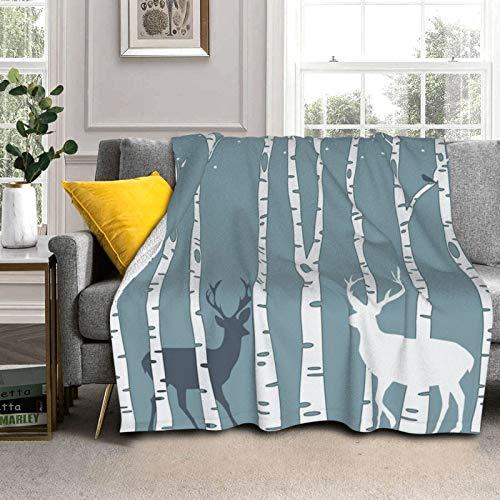 Sherpa - Manta de forro polar de 132 x 102 cm, diseño de ciervos de bosque con ciervos, reversible, súper suave, acogedora, manta de felpa para todas las estaciones cálida para sofá o cama