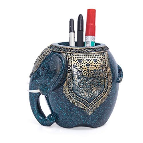 Talla Resina Elefante Lápiz Titular De La Pluma De La Manera Creativa del Sostenedor For Escuela De La Oficina (Color : Azul)
