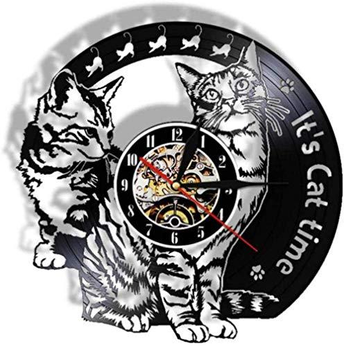 zgfeng His Cat Time Disco de Vinilo Reloj de Pared Gato juguetón Gatito decoración 3D lámpara de Pared led Que Cambia de Color luz de Noche para habitación de niños