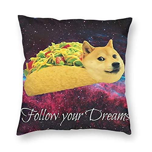 Ancreptson Doge in Taco rollos de pollo volando a través de la galaxia Space Fllow Your Dream - Funda de almohada decorativa para el hogar, cuadrada, 45,7 x 45,7 cm