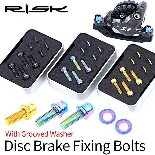 BIKERISK 4 Piezas de aleación de Titanio de Pinza de Freno de Disco M6 × 18 mm Perno de fijación con Ranuras Lavadora Montaña Bicicleta de Carretera Juego de Tornillos SLX XT XTR