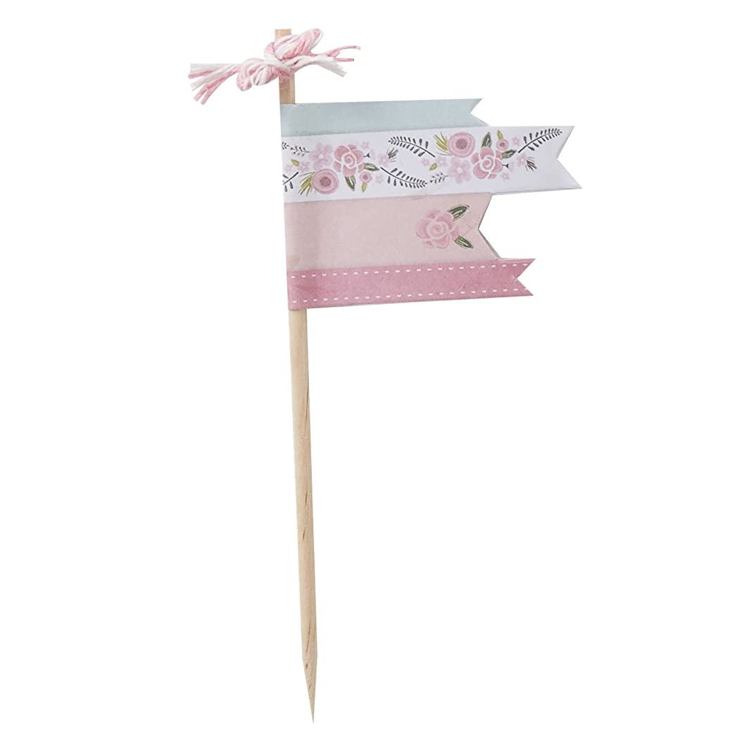 Ginger Ray Floral Fancy Design Pink Party Cupcake Food Picks, Mixed