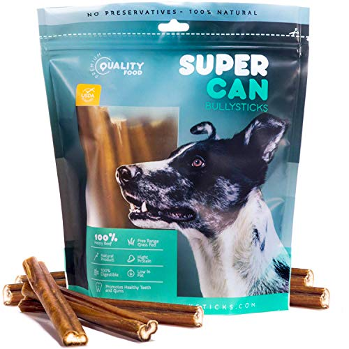 """SUPER CAN BULLYSTICKS 6"""" Bully Sticks [25-Pack] 100% Natural Beef Dog Chews - Odor Free Bully Stick For Small-Medium Dogs - Easily Digestible Dog Snacks - High Protein Dog Dental Chews - SuperCan Made"""