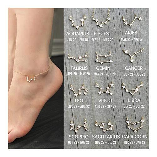 YDZS Anklets para Mujeres Cadena de Las Mujeres de Oro del horóscopo del Zodiaco del horóscopo for el Tobillo constelación Pulsera de Tobillo de la Pierna del pie Amistad Regalo calcetín