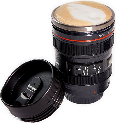 Camera Lens Coffee Mug, Best Photographer Gift, Ideal for Travel, Authentic Replica of the Canon...