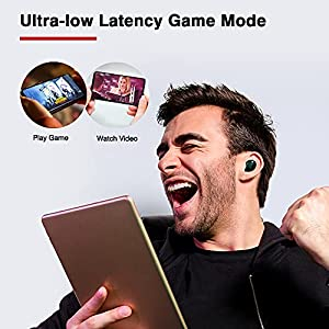 Upgraded TRANYA T10 Wireless Earbuds, 12mm Driver with Premium Deep Bass, Low Latency Game Mode, IPX7 Waterproof, Bluetooth 5.0 in Ear Headphones and Fast Charging